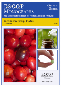 ESCOP monographs The Scientific Foundation for Herbal Medicinal Products. Online series. Vaccinii macrocarpi fructus (Cranberry). Exeter: ESCOP; 2020. 50 pages.